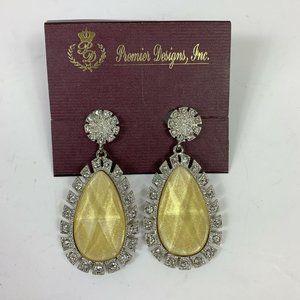 Premier Designs Yellow Silver Drop Earrings